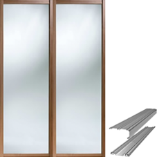 Shaker Style Walnut Frame Mirror Door & Track Set to suit an opening width of 1193mm